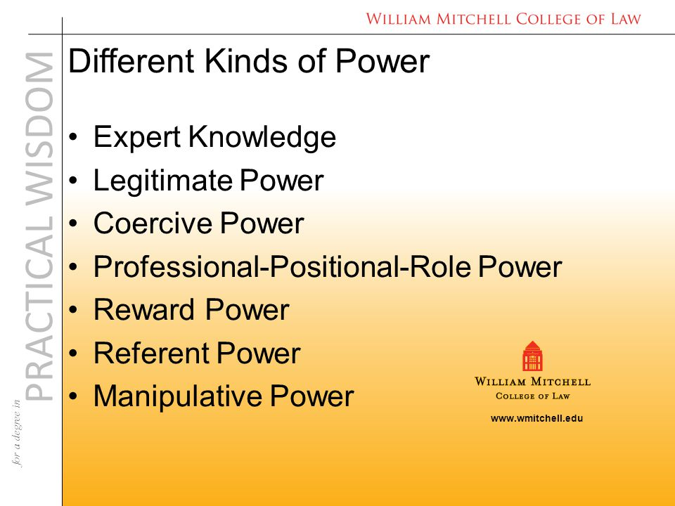 www.wmitchell.edu PRACTICAL WISDOM for a degree in Different Kinds of Power Expert Knowledge Legitimate Power Coercive Power Professional-Positional-Role Power Reward Power Referent Power Manipulative Power