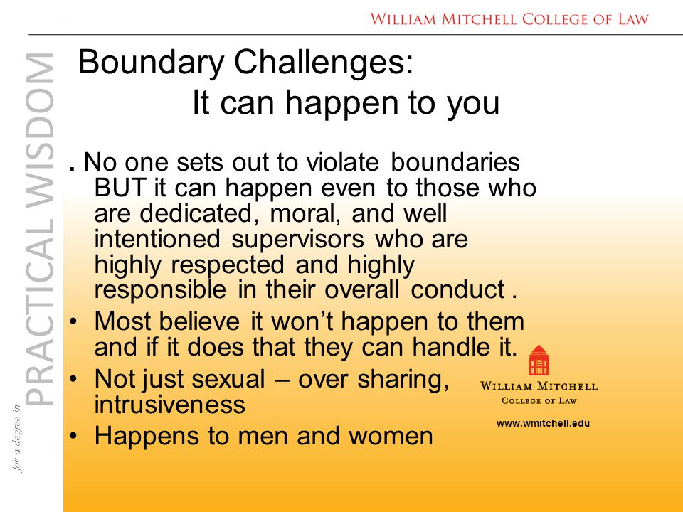 www.wmitchell.edu PRACTICAL WISDOM for a degree in Boundary Challenges: It can happen to you.
