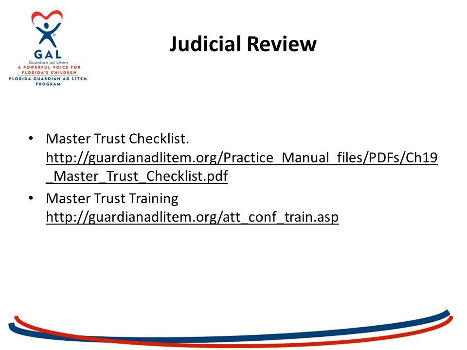 Judicial Review Master Trust Checklist.