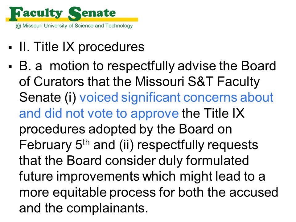  II. Title IX procedures  B.