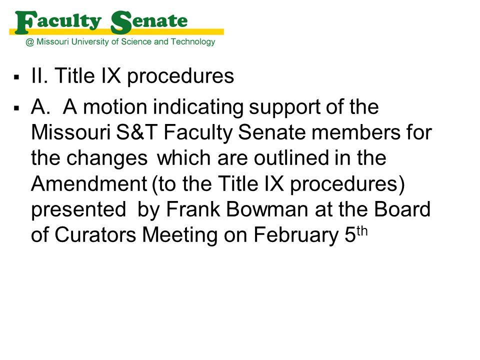  II. Title IX procedures  A.