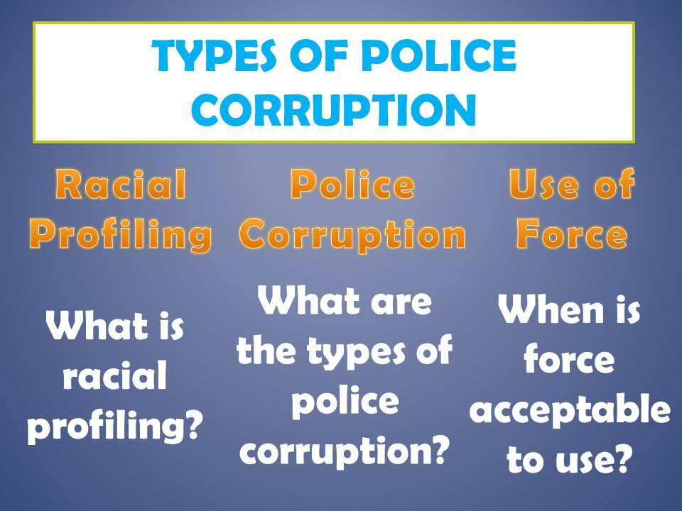 TYPES OF POLICE CORRUPTION What is racial profiling? What are the types of police corruption? When is force acceptable to use?