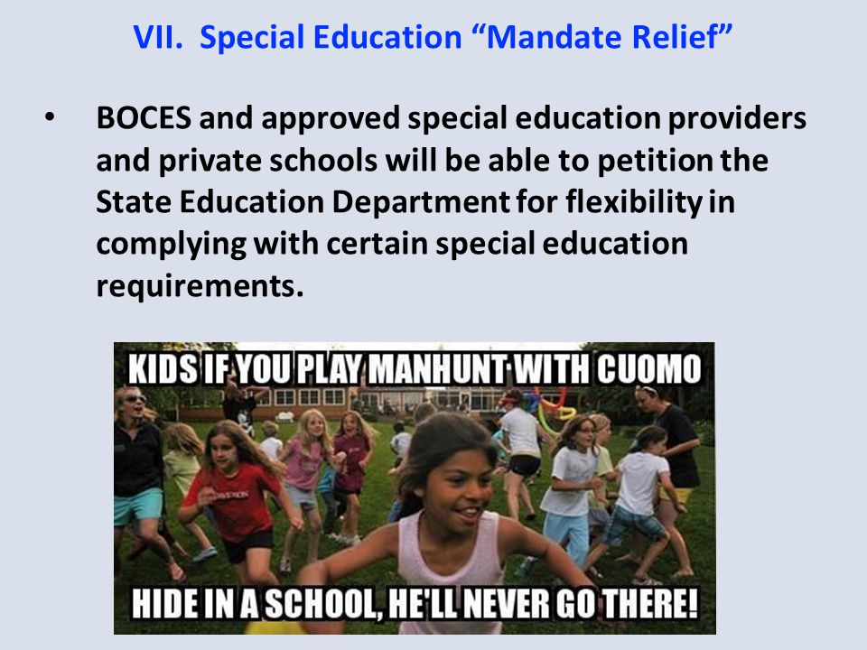 VII.Special Education Mandate Relief BOCES and approved special education providers and private schools will be able to petition the State Education Department for flexibility in complying with certain special education requirements.