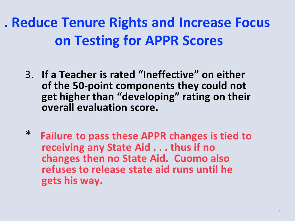 "3 3.If a Teacher is rated ""Ineffective"" on either of the 50-point components they could not get higher than ""developing"" rating on their overall evalu"