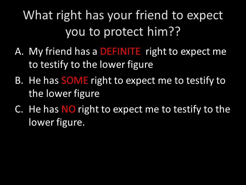 What right has your friend to expect you to protect him .