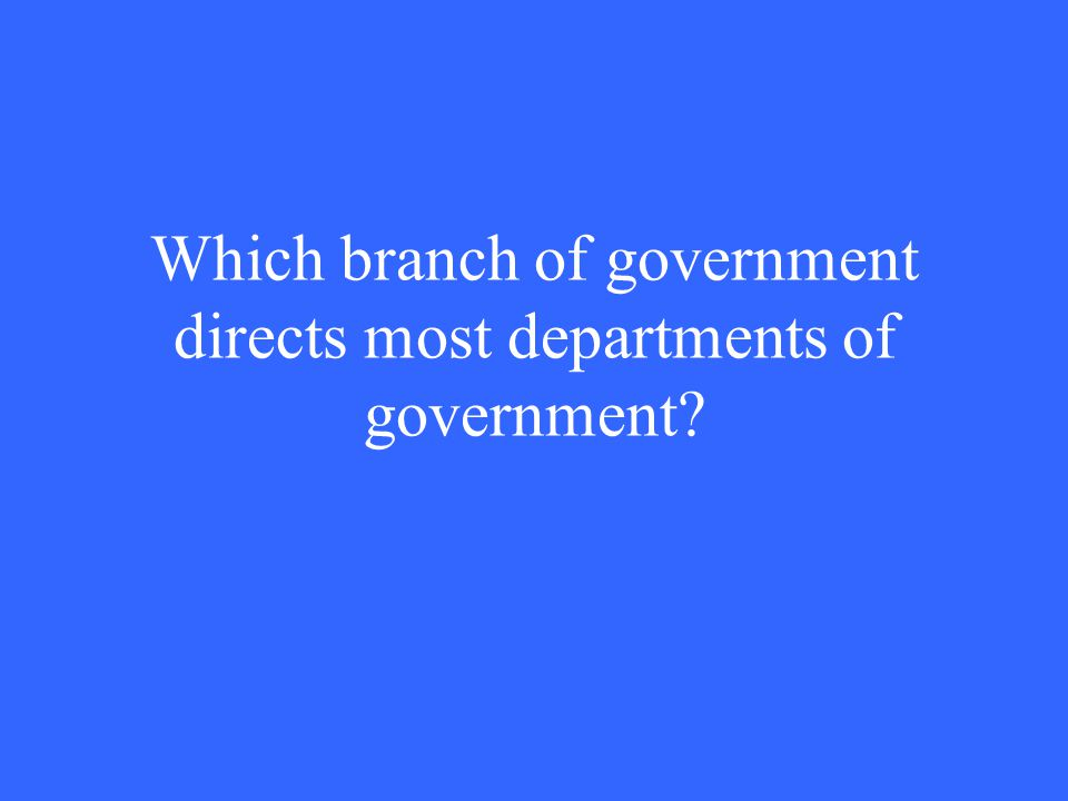 Which branch of government directs most departments of government?