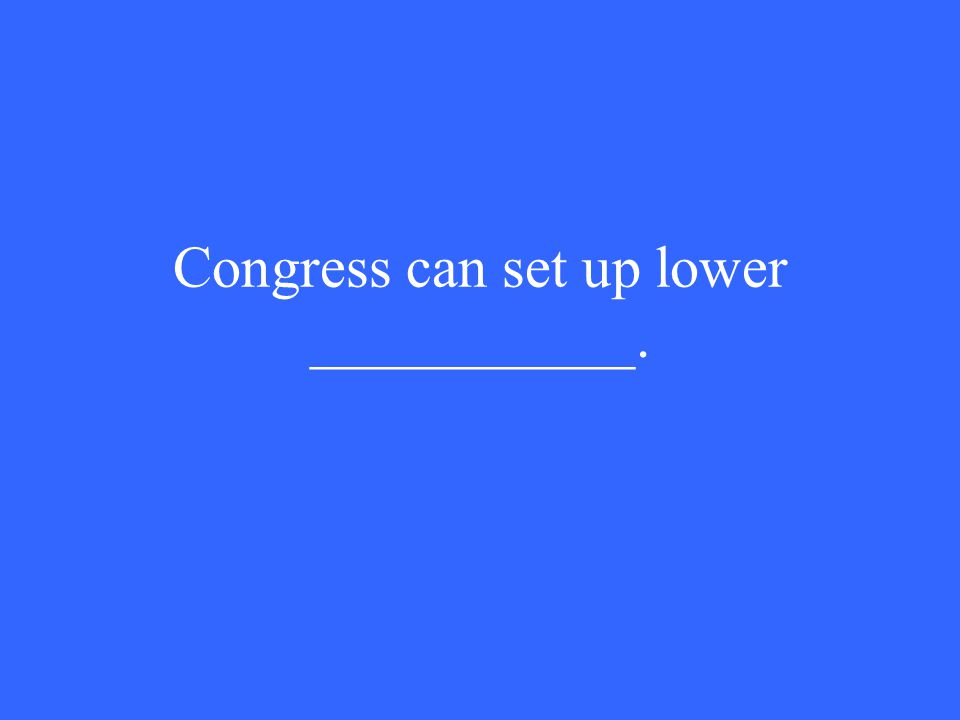 Congress can set up lower ___________.