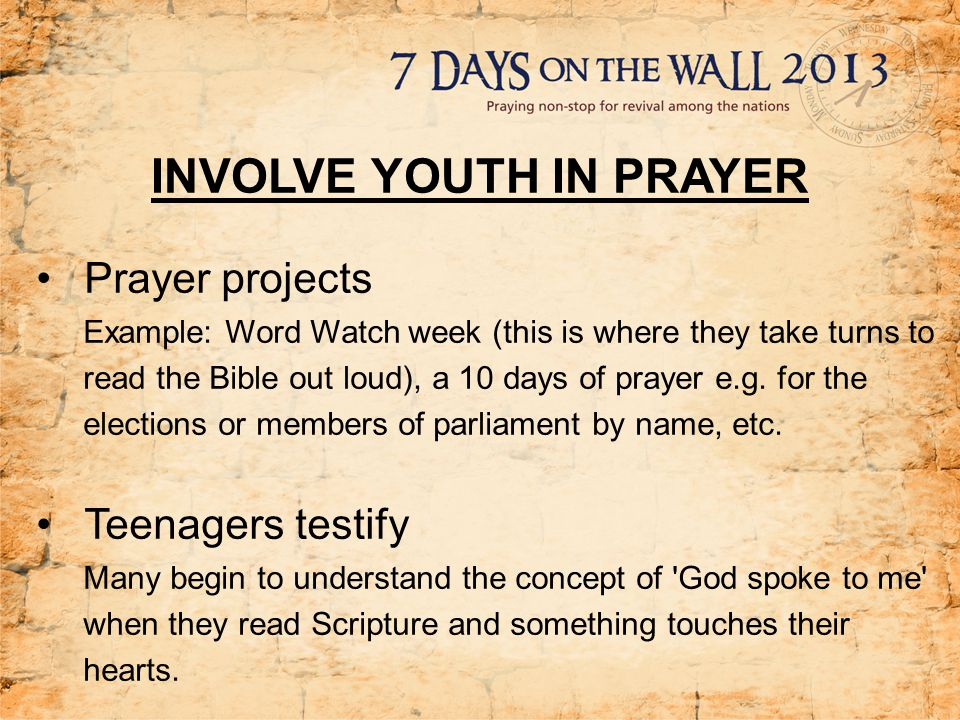 INVOLVE YOUTH IN PRAYER Invite a prayer guest If possible, invite someone that you ve been praying for to your youth gathering as a prayer guest , e.g.