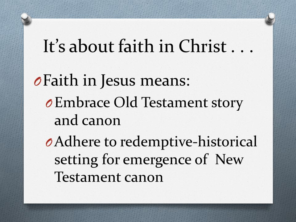 It's about faith in Christ...