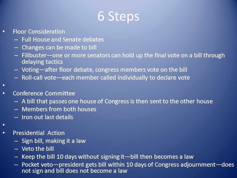 6 Steps Floor Consideration – Full House and Senate debates – Changes can be made to bill – Filibuster—one or more senators can hold up the final vote