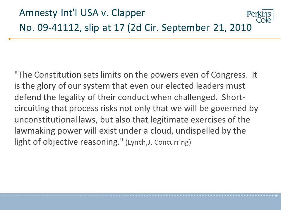 Amnesty Int l USA v. Clapper No. 09-41112, slip at 17 (2d Cir.