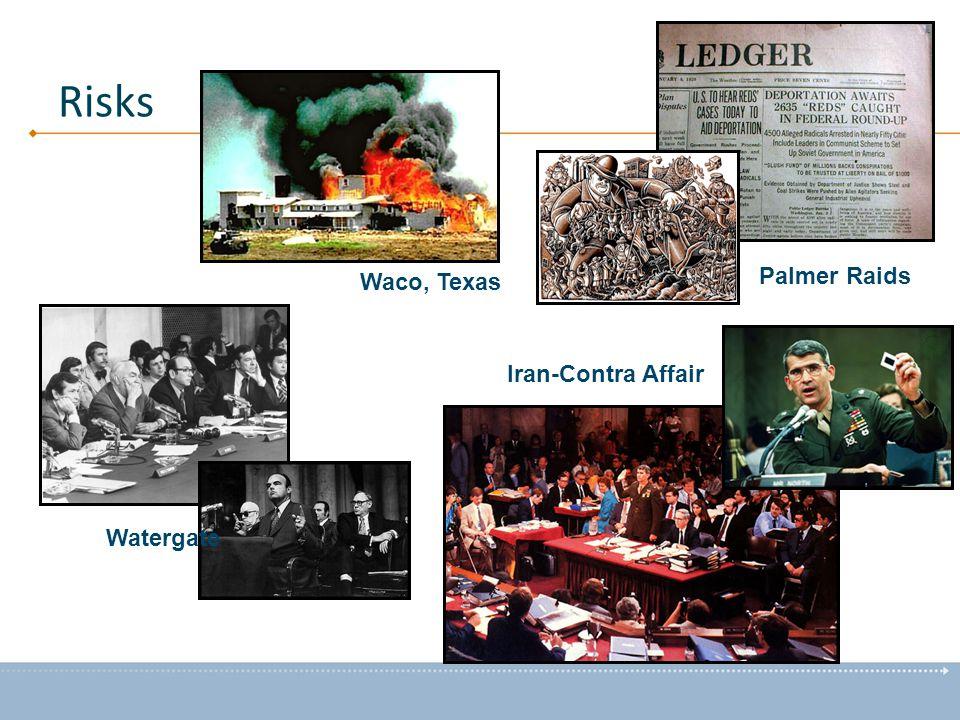 Watergate Iran-Contra Affair Waco, Texas Palmer Raids Risks