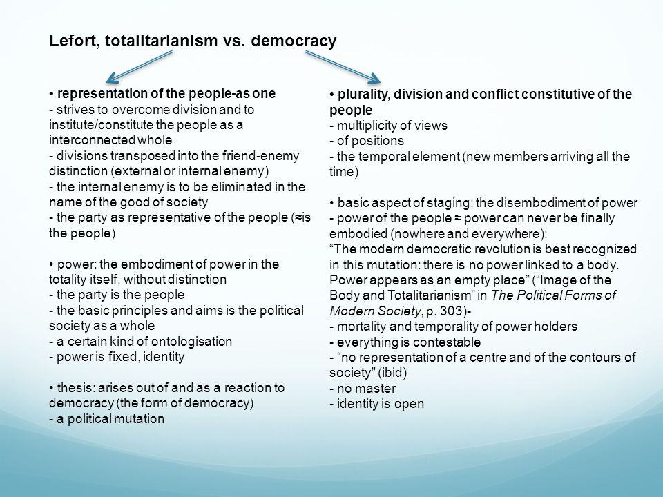 Lefort, totalitarianism vs. democracy representation of the people-as one - strives to overcome division and to institute/constitute the people as a i