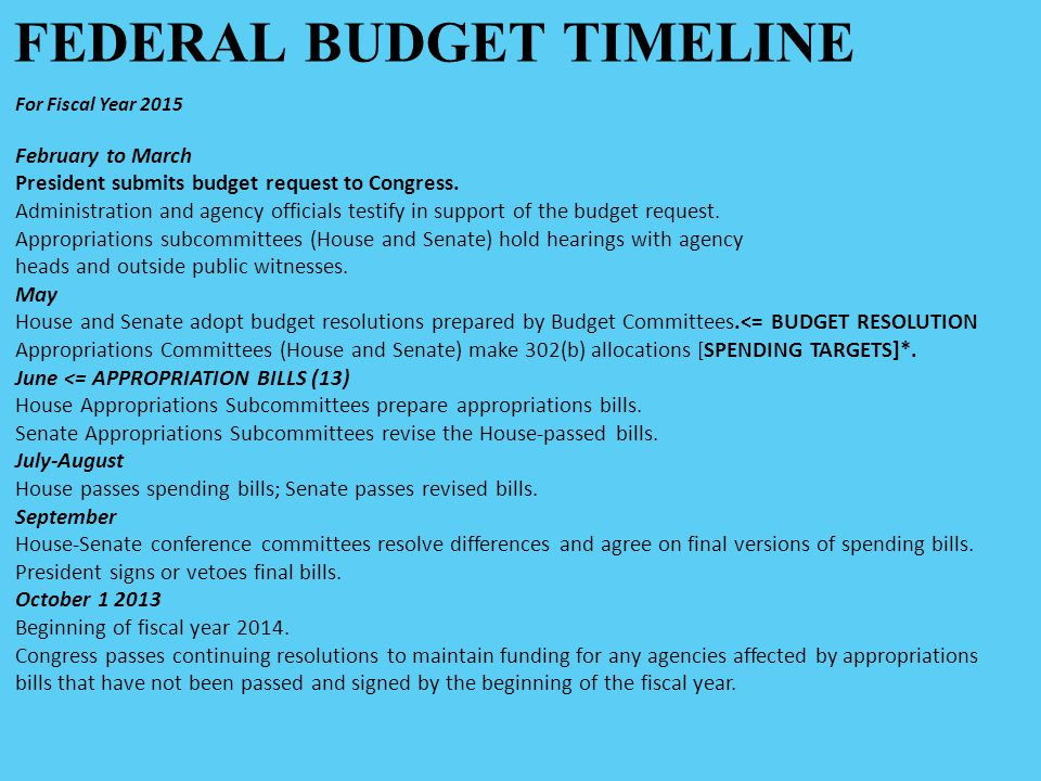 FEDERAL BUDGET TIMELINE For Fiscal Year 2015 February to March President submits budget request to Congress.