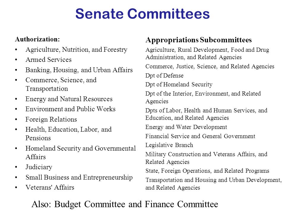 Senate Committees Authorization: Agriculture, Nutrition, and Forestry Armed Services Banking, Housing, and Urban Affairs Commerce, Science, and Transportation Energy and Natural Resources Environment and Public Works Foreign Relations Health, Education, Labor, and Pensions Homeland Security and Governmental Affairs Judiciary Small Business and Entrepreneurship Veterans Affairs Appropriations Subcommittees Agriculture, Rural Development, Food and Drug Administration, and Related Agencies Commerce, Justice, Science, and Related Agencies Dpt of Defense Dpt of Homeland Security Dpt of the Interior, Environment, and Related Agencies Dpts of Labor, Health and Human Services, and Education, and Related Agencies Energy and Water Development Financial Service and General Government Legislative Branch Military Construction and Veterans Affairs, and Related Agencies State, Foreign Operations, and Related Programs Transportation and Housing and Urban Development, and Related Agencies Also: Budget Committee and Finance Committee