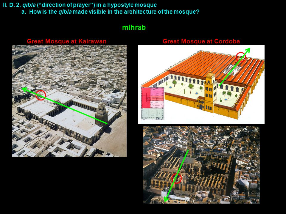 "II. D. 2. qibla (""direction of prayer"") in a hypostyle mosque a. How is the qibla made visible in the architecture of the mosque? Great Mosque at Kair"
