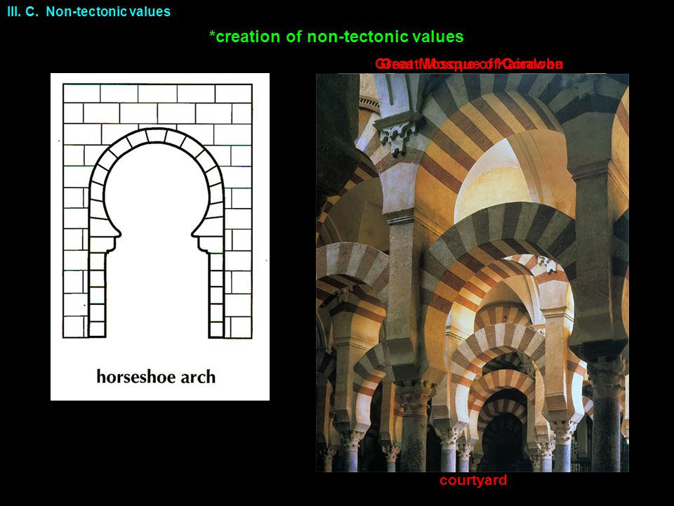 Great Mosque of CordobaGreat Mosque of Kairawan III. C. Non-tectonic values *creation of non-tectonic values courtyard