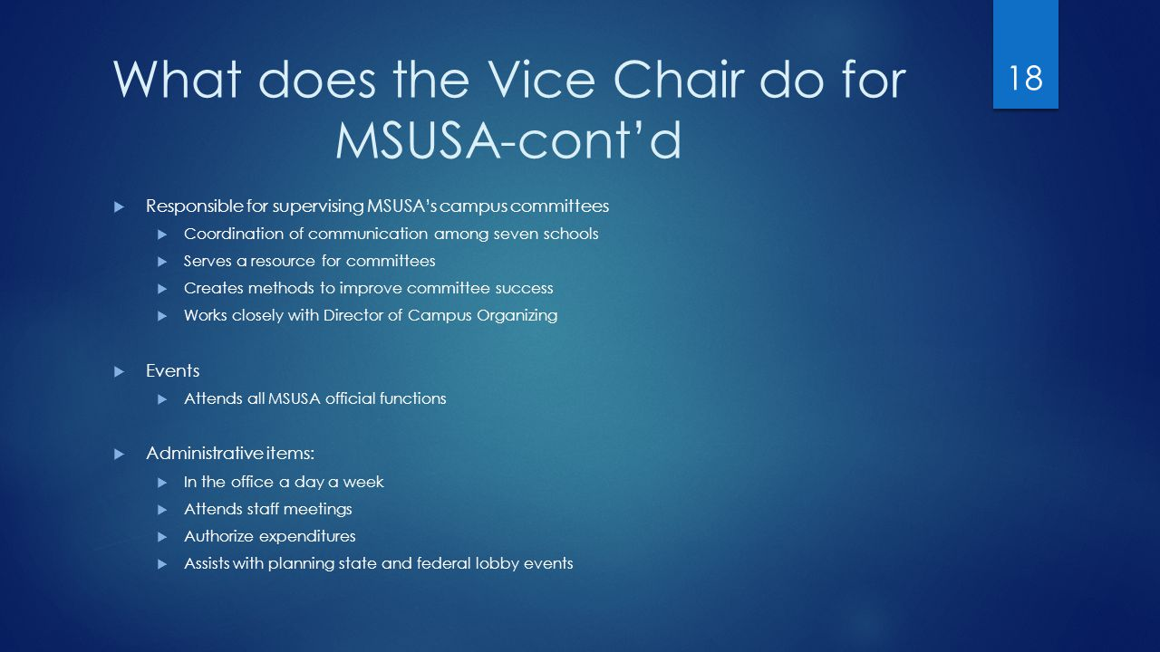 What does the Vice Chair do for MSUSA-cont'd  Responsible for supervising MSUSA's campus committees  Coordination of communication among seven schools  Serves a resource for committees  Creates methods to improve committee success  Works closely with Director of Campus Organizing  Events  Attends all MSUSA official functions  Administrative items:  In the office a day a week  Attends staff meetings  Authorize expenditures  Assists with planning state and federal lobby events 18