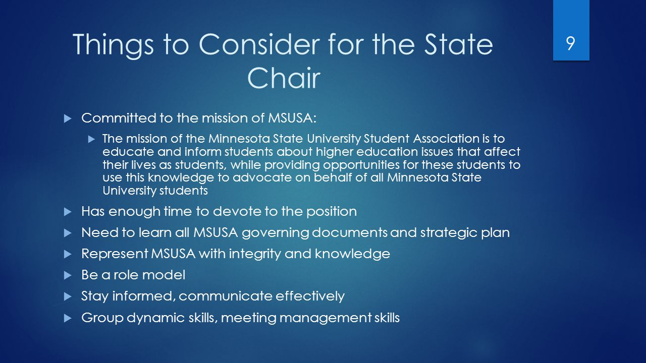 What does the Treasurer do for MSUSA-cont'd  Events  Attends all MSUSA official functions  Performs duties as assigned by the board or state chair  Administrative items include:  Attends staff meetings  Assists with planning state and federal lobby events 20
