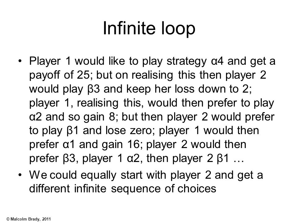 © Malcolm Brady, 2011 Infinite loop Player 1 would like to play strategy α4 and get a payoff of 25; but on realising this then player 2 would play β3