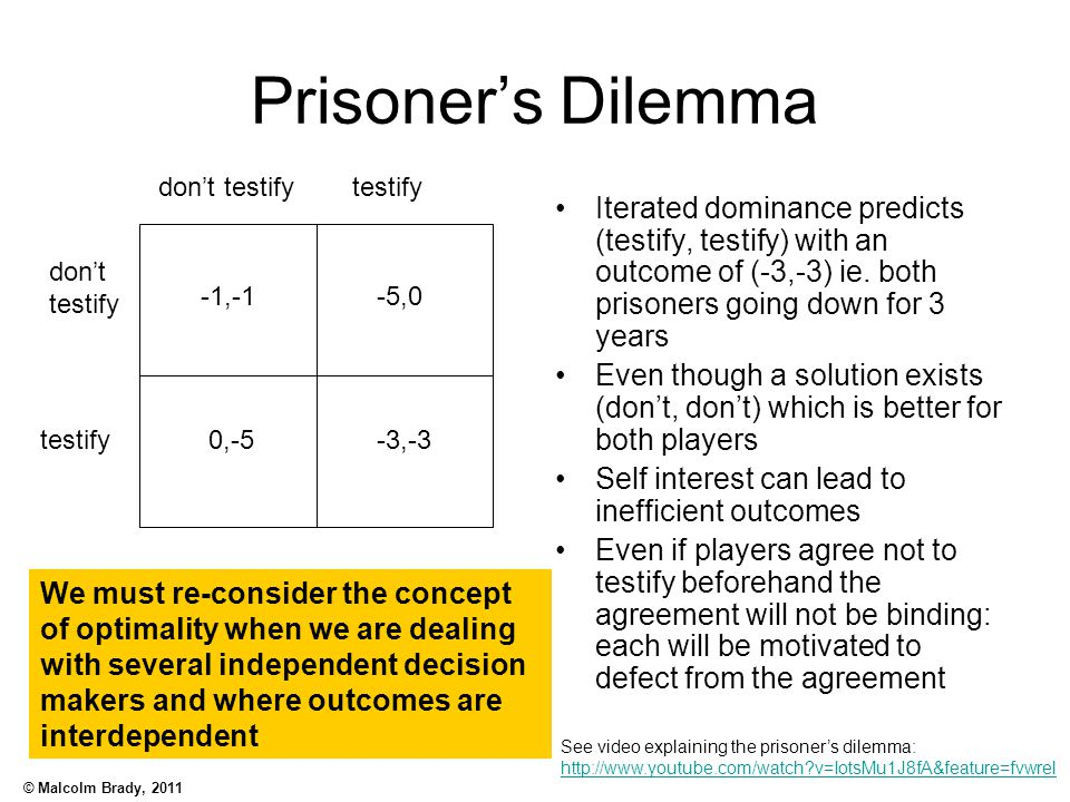 © Malcolm Brady, 2011 Prisoner's Dilemma Iterated dominance predicts (testify, testify) with an outcome of (-3,-3) ie. both prisoners going down for 3