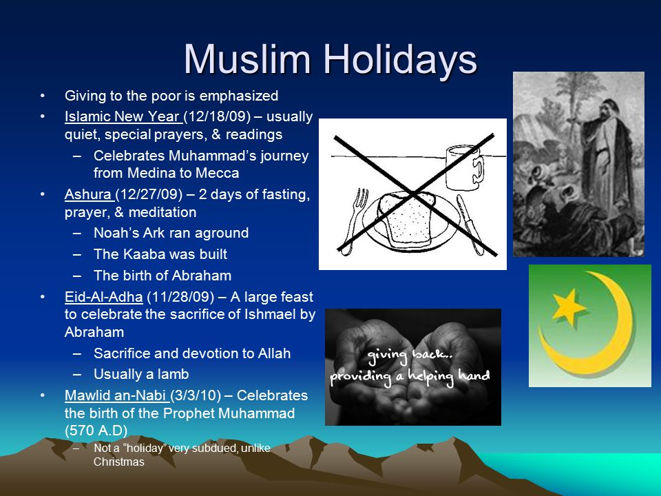 Muslim Holidays Giving to the poor is emphasized Islamic New Year (12/18/09) – usually quiet, special prayers, & readings –Celebrates Muhammad's journey from Medina to Mecca Ashura (12/27/09) – 2 days of fasting, prayer, & meditation –Noah's Ark ran aground –The Kaaba was built –The birth of Abraham Eid-Al-Adha (11/28/09) – A large feast to celebrate the sacrifice of Ishmael by Abraham –Sacrifice and devotion to Allah –Usually a lamb Mawlid an-Nabi (3/3/10) – Celebrates the birth of the Prophet Muhammad (570 A.D) –Not a holiday very subdued, unlike Christmas