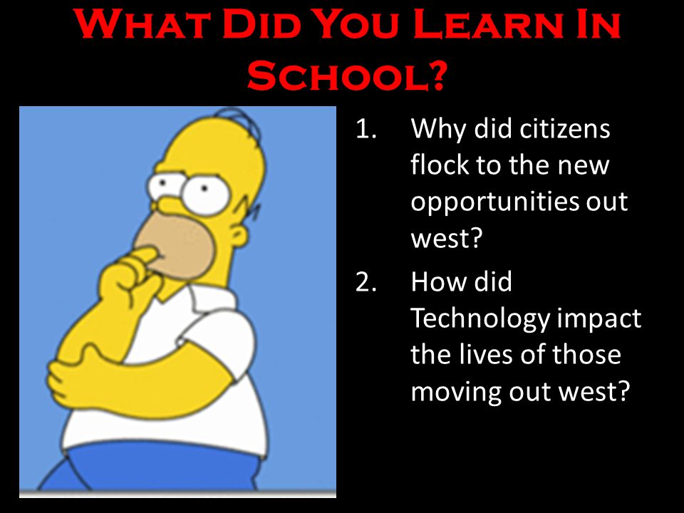What Did You Learn In School.1.Why did citizens flock to the new opportunities out west.