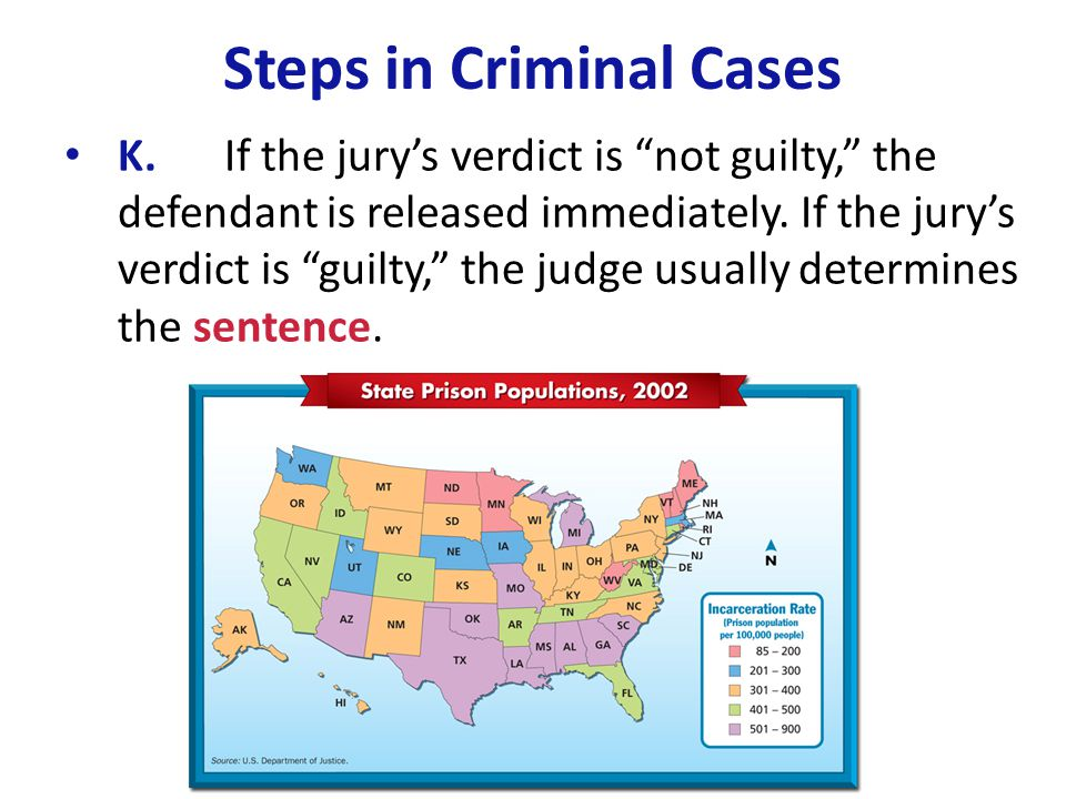 """Steps in Criminal Cases K.If the jury's verdict is """"not guilty,"""" the defendant is released immediately. If the jury's verdict is """"guilty,"""" the judge u"""