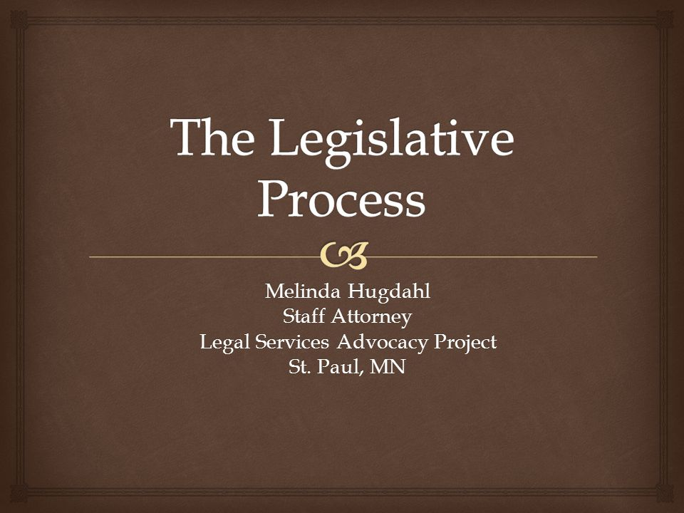   A short primer on lobbying  What LSAP does  Legislative process – from idea to law What we'll talk about today