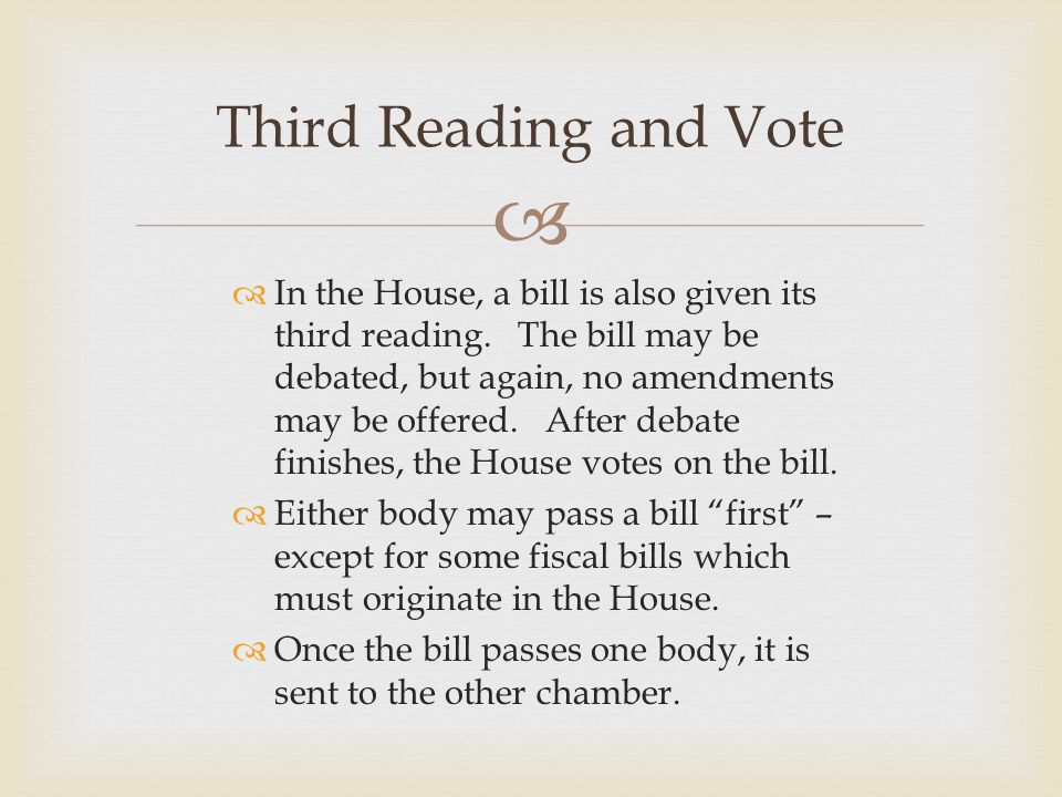   In the House, a bill is also given its third reading. The bill may be debated, but again, no amendments may be offered. After debate finishes, the
