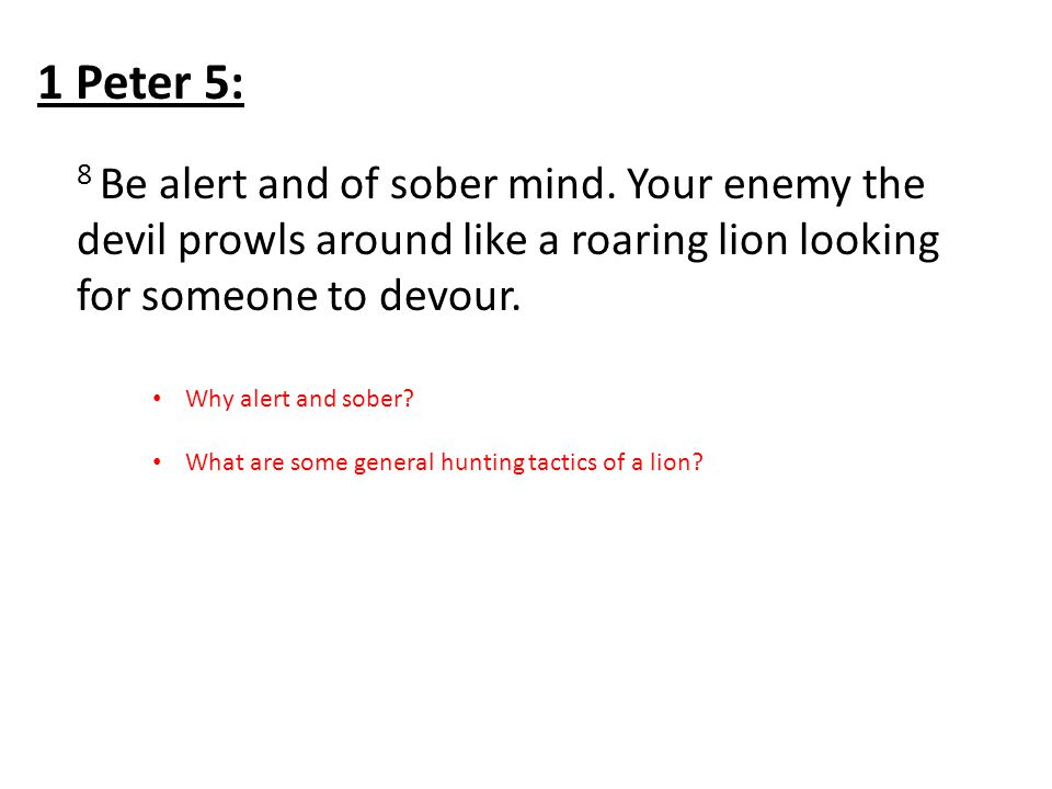 8 Be alert and of sober mind.