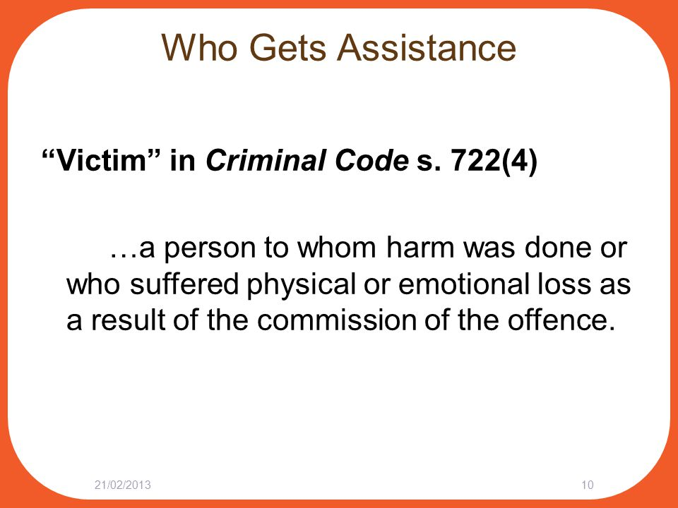 Who Gets Assistance Victim in Criminal Code s.