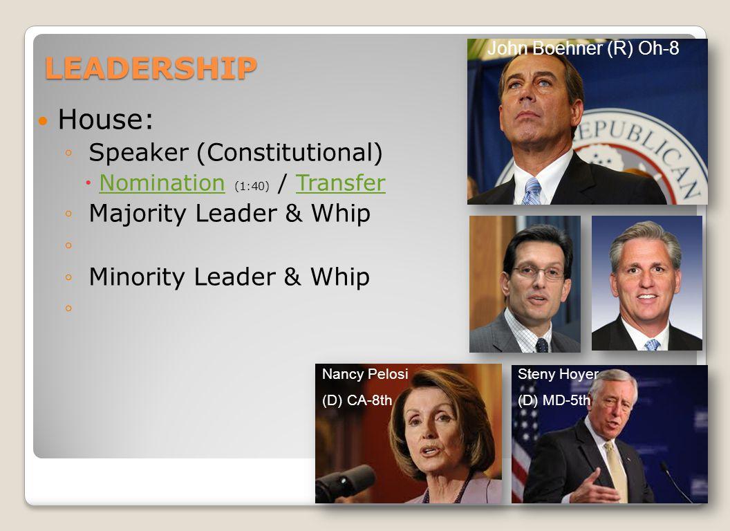 LEADERSHIP House: ◦ Speaker (Constitutional)  Nomination (1:40) / Transfer NominationTransfer ◦ Majority Leader & Whip ◦ ◦ Minority Leader & Whip ◦ John Boehner (R) Oh-8 Nancy Pelosi (D) CA-8th Steny Hoyer (D) MD-5th