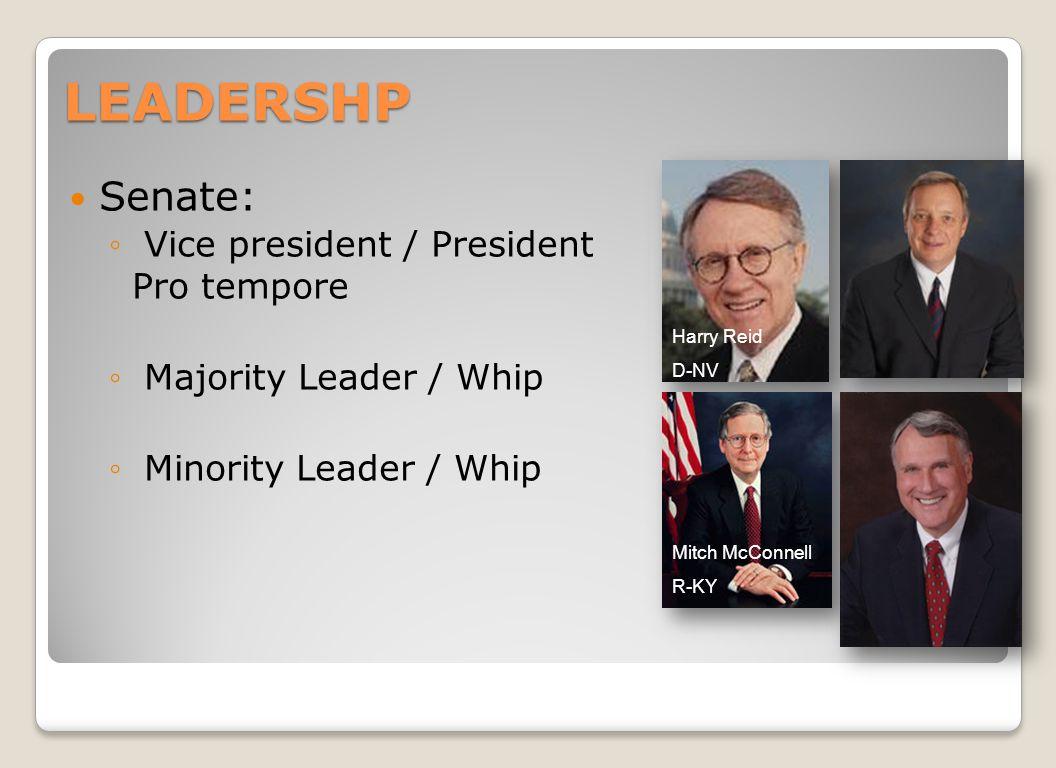LEADERSHP Senate: ◦ Vice president / President Pro tempore ◦ Majority Leader / Whip ◦ Minority Leader / Whip Harry Reid D-NV Mitch McConnell R-KY