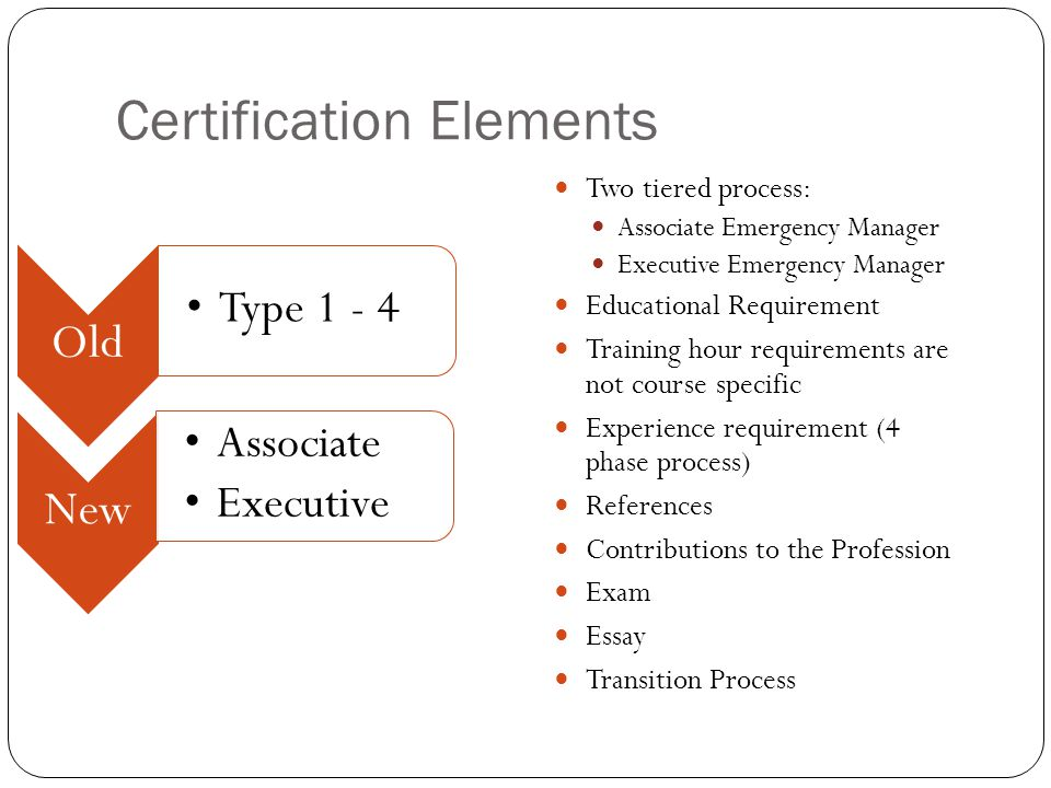 Recertification Requirements Required for BOTH levels of certification Requires 100 hours in 5years (20 hours per year) 75 Emergency Management 25 General Management Teaching classes can count as 50% of your hours