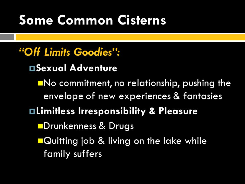 """Some Common Cisterns """"Off Limits Goodies"""":  Sexual Adventure No commitment, no relationship, pushing the envelope of new experiences & fantasies  Li"""