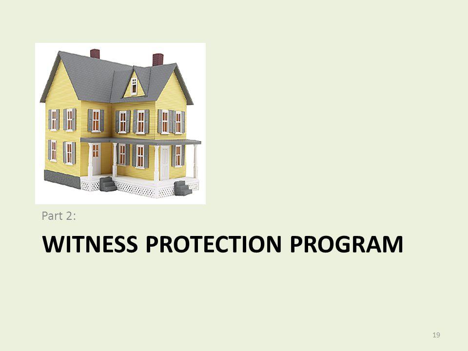 WITNESS PROTECTION PROGRAM Part 2: 19