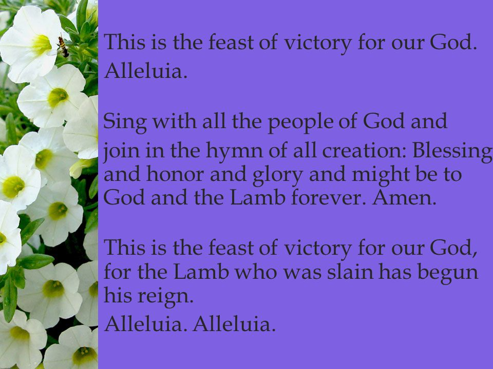  This is the feast of victory for our God. Alleluia.