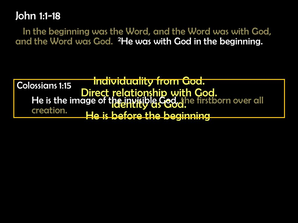 John 1:1-18 In the beginning was the Word, and the Word was with God, and the Word was God.