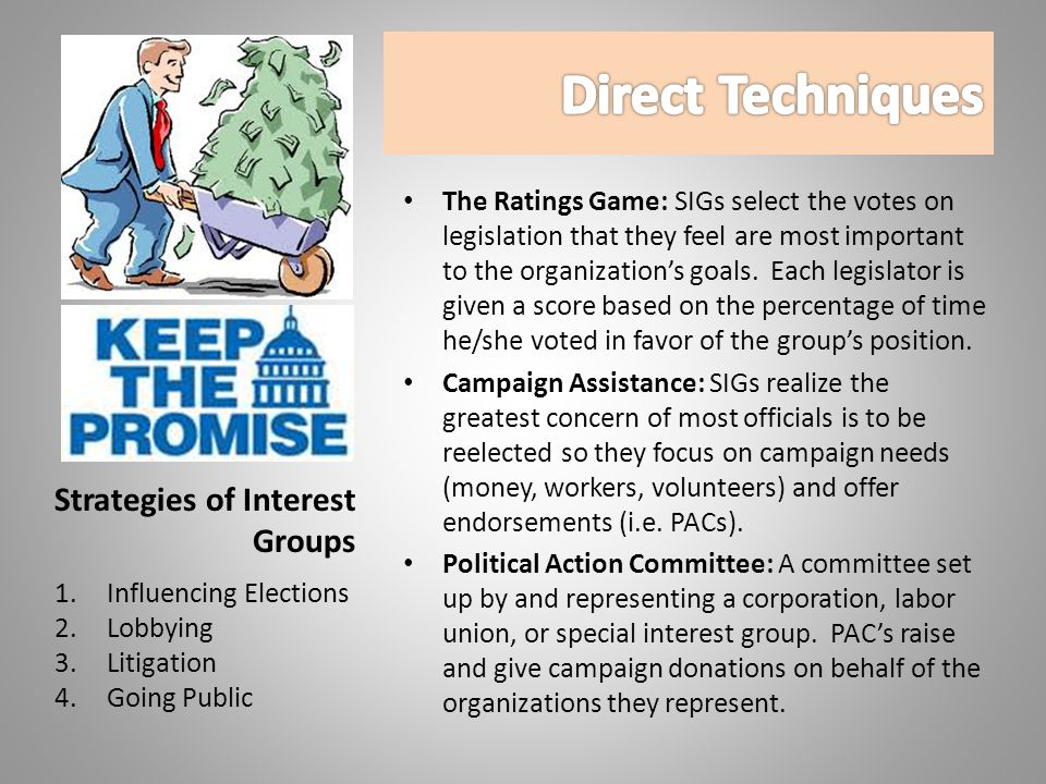 The Ratings Game: SIGs select the votes on legislation that they feel are most important to the organization's goals.