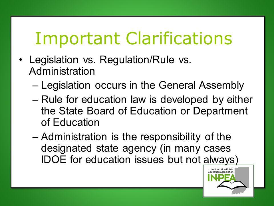 Important Clarifications Legislation vs. Regulation/Rule vs.