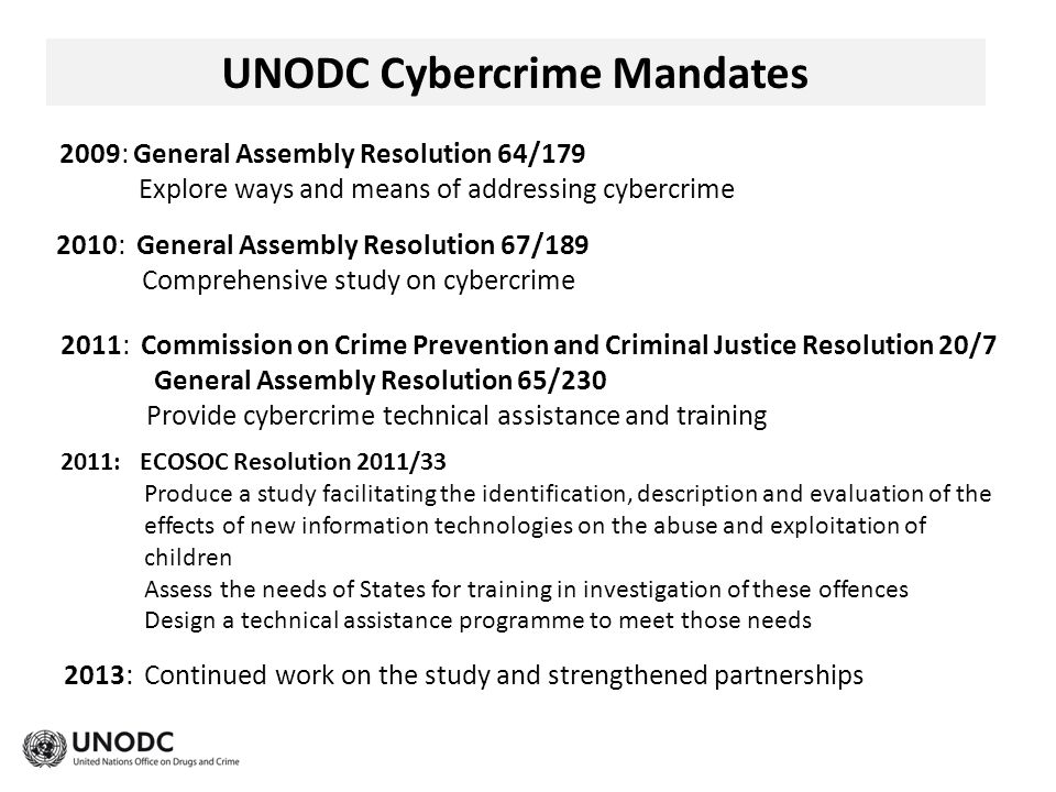 UNODC Cybercrime Mandates 2009: General Assembly Resolution 64/179 Explore ways and means of addressing cybercrime 2010: General Assembly Resolution 67/189 Comprehensive study on cybercrime 2011: Commission on Crime Prevention and Criminal Justice Resolution 20/7 General Assembly Resolution 65/230 Provide cybercrime technical assistance and training 2013: Continued work on the study and strengthened partnerships 2011: ECOSOC Resolution 2011/33 Produce a study facilitating the identification, description and evaluation of the effects of new information technologies on the abuse and exploitation of children Assess the needs of States for training in investigation of these offences Design a technical assistance programme to meet those needs