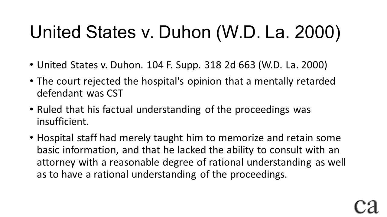 United States v.Duhon (W.D. La. 2000) United States v.
