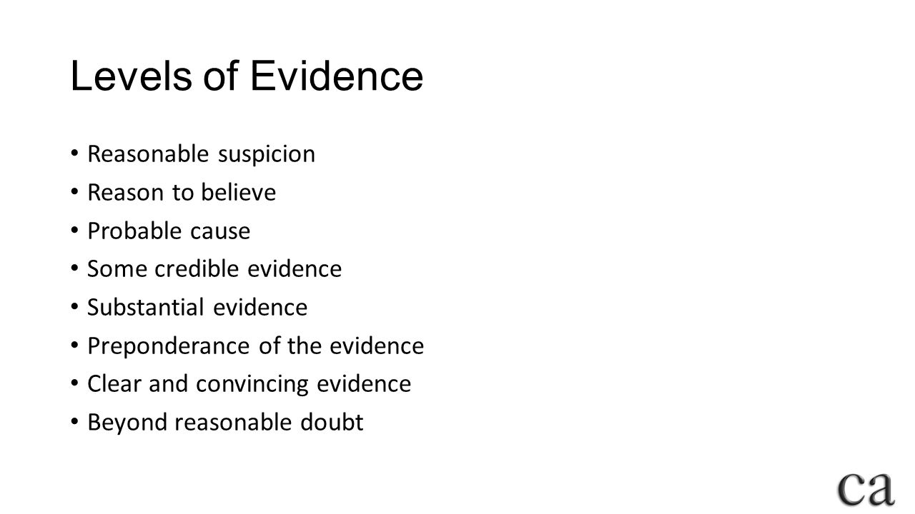 Levels of Evidence Reasonable suspicion Reason to believe Probable cause Some credible evidence Substantial evidence Preponderance of the evidence Clear and convincing evidence Beyond reasonable doubt
