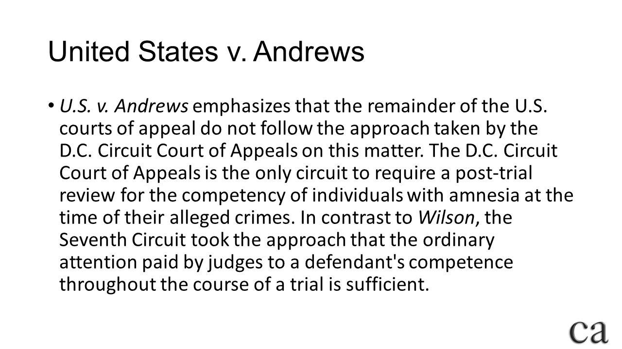 United States v.Andrews U.S. v. Andrews emphasizes that the remainder of the U.S.