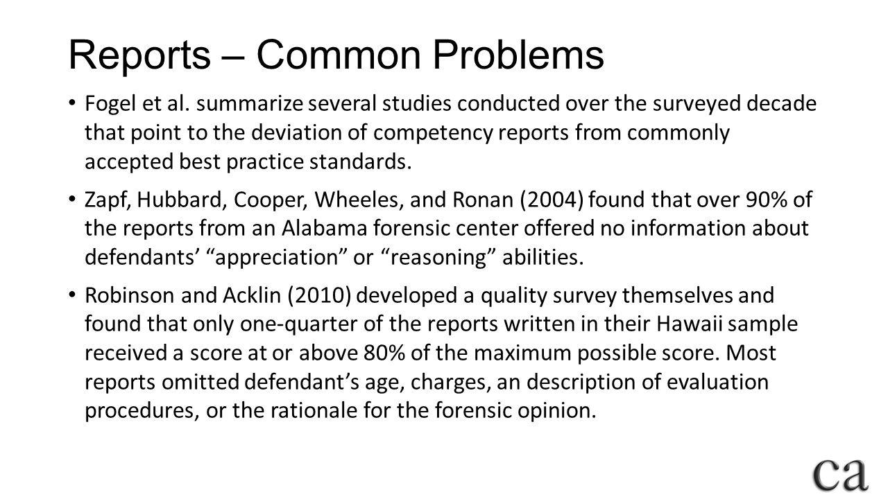 Reports – Common Problems Fogel et al.