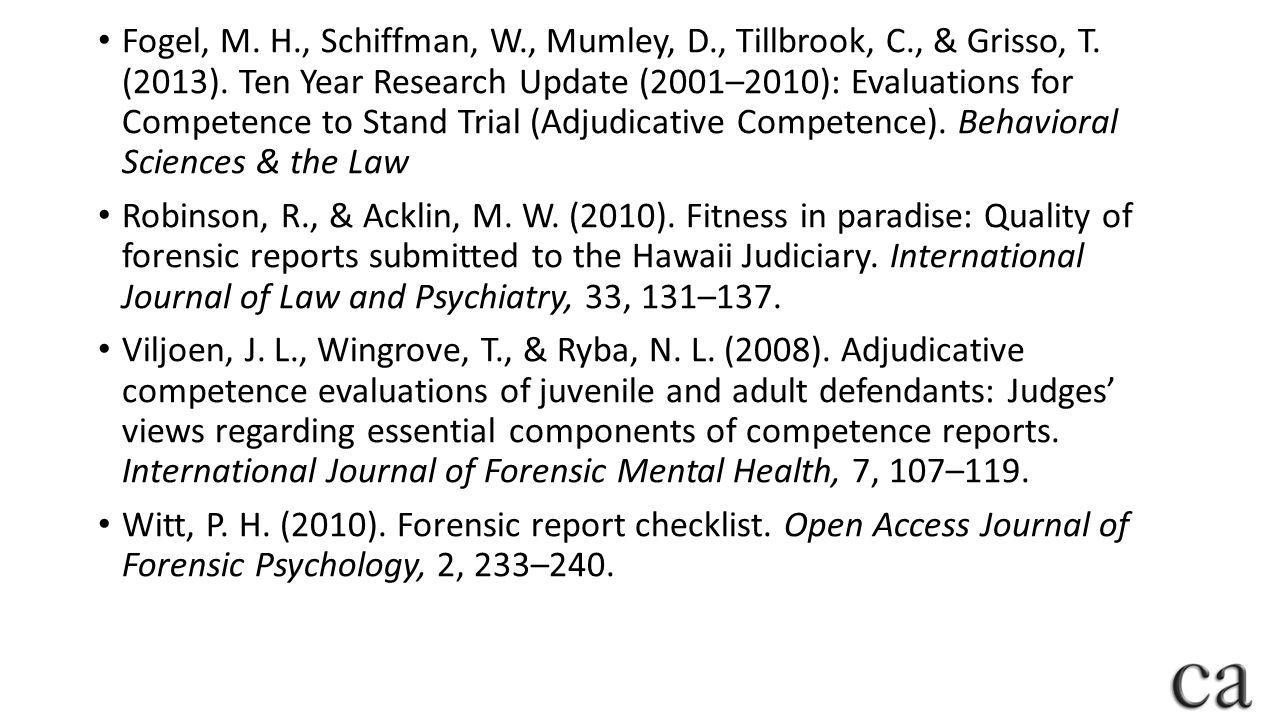 Fogel, M.H., Schiffman, W., Mumley, D., Tillbrook, C., & Grisso, T.