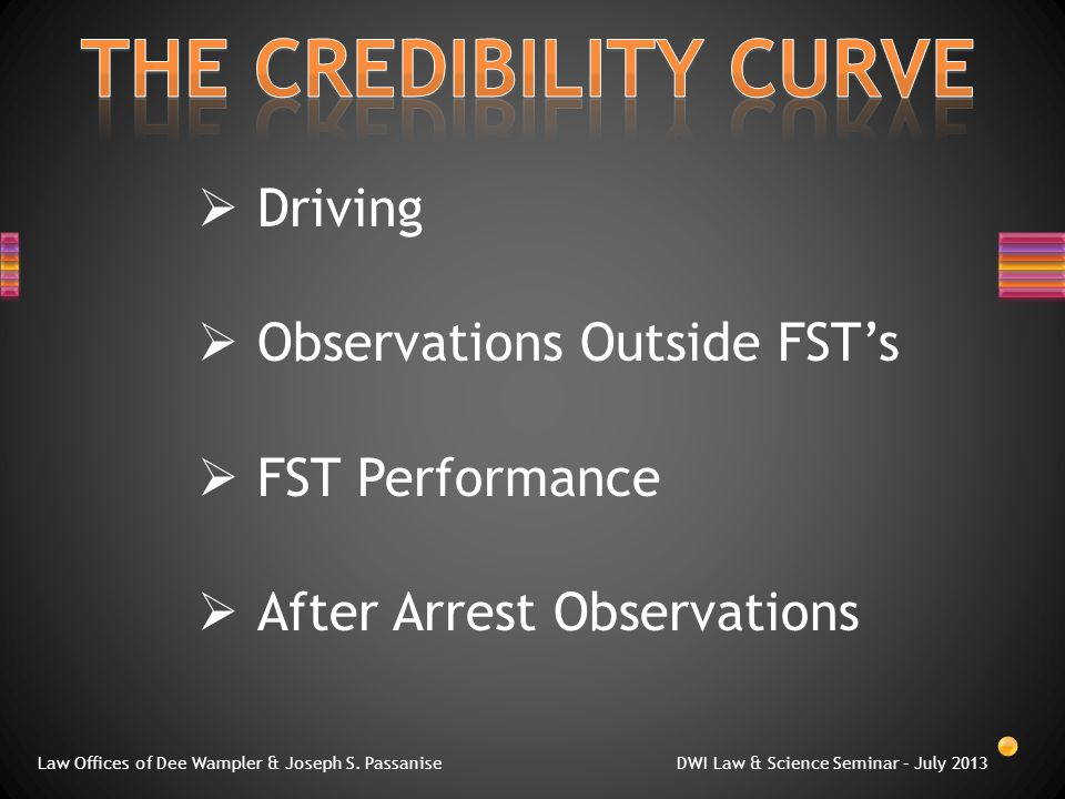  Driving  Observations Outside FST's  FST Performance  After Arrest Observations Law Offices of Dee Wampler & Joseph S.