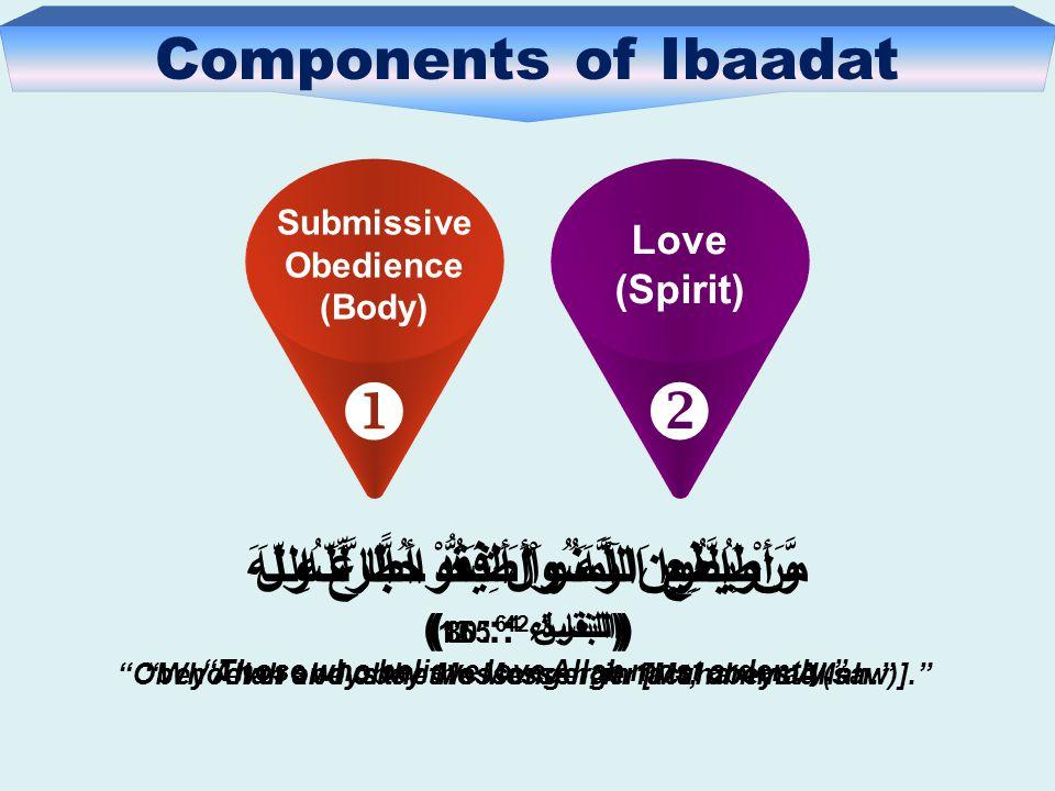Components of Ibaadat Love (Spirit)  Submissive Obedience (Body)  وَأَطِيعُوا اللَّهَ وَأَطِيعُوا الرَّسُولَ (التغابن 64 : 12 ) Obey Allah and obey the Messenger [Muhammad (saw)]. مَّنْ يُطِعِ الرَّسُولَ فَقَدْ أَطَاعَ اللّهَ (النساء 4 : 80 ) Whoever obeys the Messenger, in fact, obeys Allah. وَالَّذِينَ آمَنُواْ أَشَدُّ حُبًّا لِّلّهِ (البقرۃ 2 : 165 ) Those who believe love Allah most ardently.
