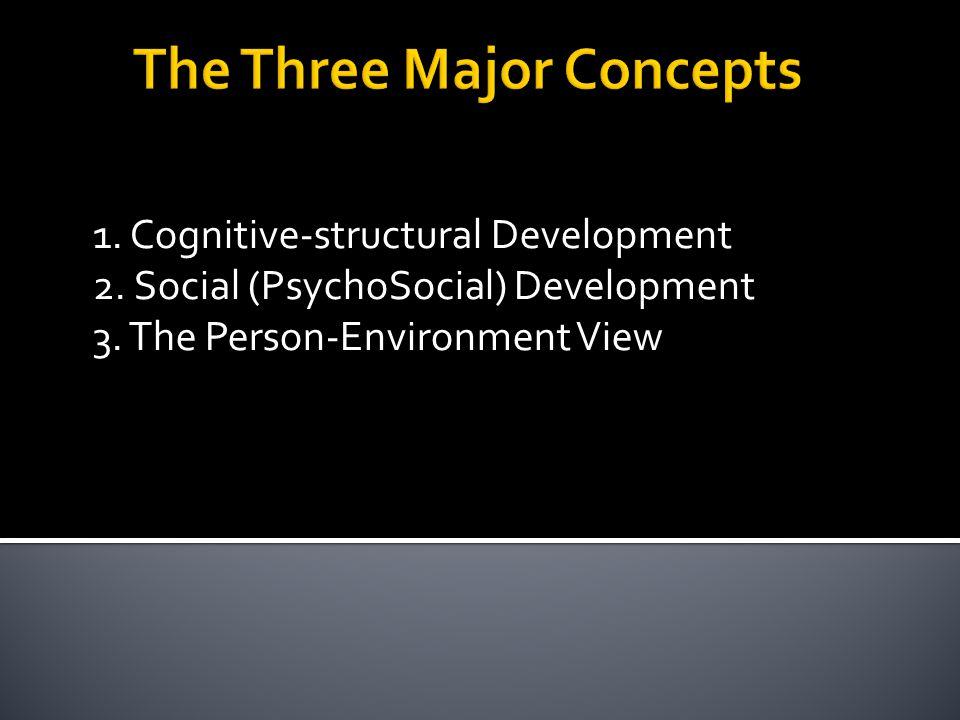 1. Cognitive-structural Development 2. Social (PsychoSocial) Development 3.